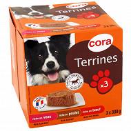 Cora terrines riches en viande pour chien 3 x 300g
