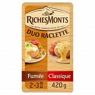 RichesMonts duo raclette classique et fumée 2x8 tranches 420g