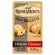 RichesMonts duo raclette classique et 3 poivres 2x8 tranches 420g