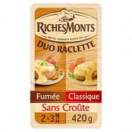 RichesMonts fromage à raclette duo sans croûte nature et fumée 420g