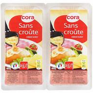 Cora raclette sans croûte au lait pasteurisé tranches 2x400g