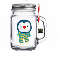 Drinking jar 450ml décor pingouin