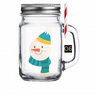 Drinking jar 450ml décor snowman