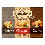 RichesMonts raclette assortiments nature, 3 poivres et caracère 700g
