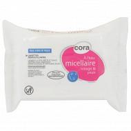 Cora lingettes démaquillantes tous type de peaux à l'eau micellaire recharges x25