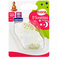 2 sucettes silicone phosphorescente physiologiques +18 mois tree birds Cora