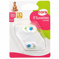 2 sucettes physiologiques 0/6 mois silicone tree birds Cora