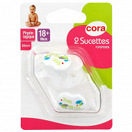 2 sucettes physiologiques +18 mois silicone tree birds Cora