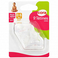 2 tétines physiologiques 0-6mois silicone Cora