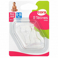 2 tétines bout rond 6-18mois silicone bouillie Cora
