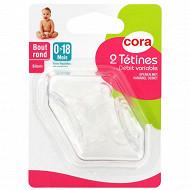 2 tétines bout rond 0-18 mois silicone débit variable Cora