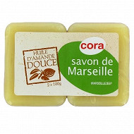 Cora savon de Marseille amande douce 2x100g