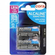 Cora 2 piles alcalines  C (LR14) suractivées