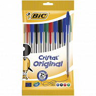 Bic 10 stylos bille cristal  pointe moyenne couleurs assorties