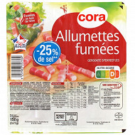 Cora lardons allumettes fumés -25%sel 2x75g