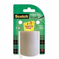 Scotch ruban magic 15 m x 19 mm 2 rouleaux recharges + 1 offert