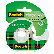 Scotch ruban adhésif magic 25 mètresx19 mm rouleau dévidoir