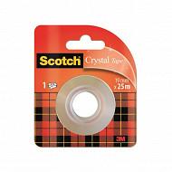 Scotch - Ruban adhésif super transparent 25 mètres x19mm rouleau recharge
