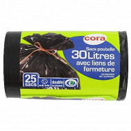 Cora sacs poubelle x25 liens classiques 30 litres