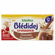 Blédina blédidej brique de lait et céréales saveur chocolat 4x250ml dès 12 mois