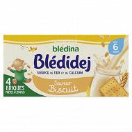 Blédina blédidej brique de lait et céréales saveur biscuité 4x250ml dès 6 mois
