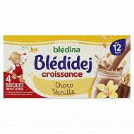 Blédina blédidej brique de lait et céréales saveur choco vanille 4x250ml dès 12 mois