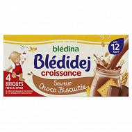 Blédina blédidej brique de lait et céréales saveur choco-biscuitée 4x250ml dès 12 mois