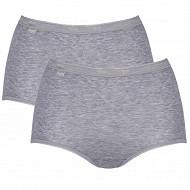 Lot de 2 culottes maxi basic coton Sloggi M013 GRIS CHINE T50