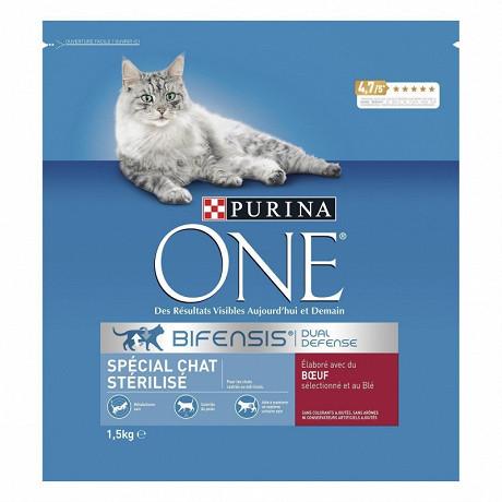 One chat stérilisé boeuf et blé 1,5kg
