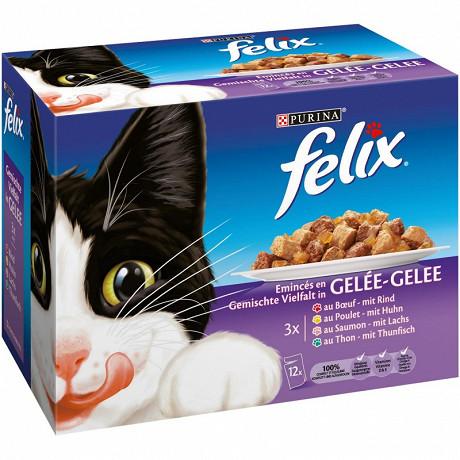 Felix sachets fraicheur émincés en gelée viandes poissons 12 x 100g
