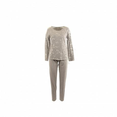 Pyjama long manches longues femme GRIS CHINE T50\52