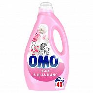 Omo lessive liquide rose & lilas blanc 2l 40 lavages