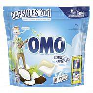 Omo essences naturelles lessive capsules 2 en 1 reve de coco sachet 30 D