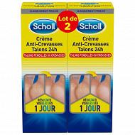 Scholl creme anti crevasse talons 24h lot 2