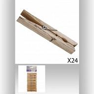 Pinces à linge x24 en bois