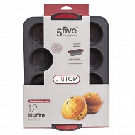 Moule 12 muffins en silicone bords rigides