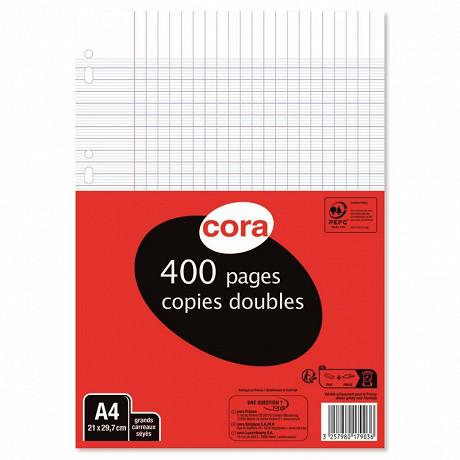 Cora copies doubles blanches perforées 21 x 29.7 cm 400 pages seyes grands carreaux
