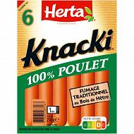 Herta 6 knacki 100% poulet fumage au bois de hêtre 210g