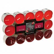 Lot de 30 bougies chauffe-plat parfum fruit rouge