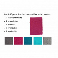 Lot de 10 gants de toilette unis 16x21cm