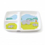 Plateau 3 compartiments mélamine blanche décor éléphant