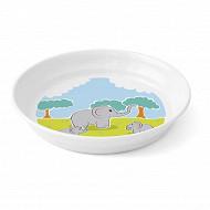 Assiette creuse mélamine blanche décor éléphant