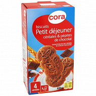 Cora biscuits petit déjeuner céréales et pépites de chocolat 400g