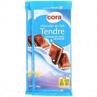 Chocolat lait fourrage au lait 2x100g Cora