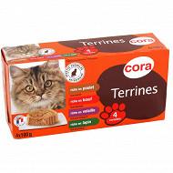 Cora terrines riches en viande pour chat 4 x 100g
