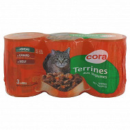 Cora terrine chat agneau canard boeuf légumes 3x400g