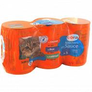 Cora bouchées chat saumon thon cabillaud 3 x 400g