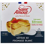 St amour gateau au fromage blanc au gout légèrement citronné avec coulis fraise 350g