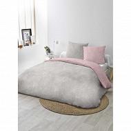 Parure drap plat 240x290 cm+DH 140x190+ 2 to 63x63 cm orane rose/gris clair