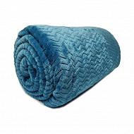 Plaid imprimé 130x180 milano bleu canard